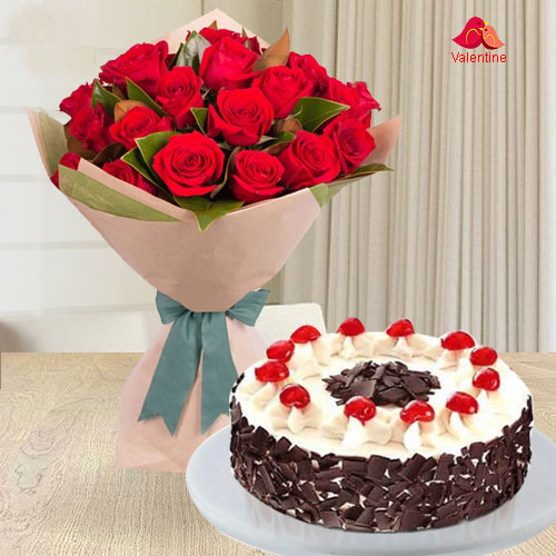 24 Exclusive Red Dutch Roses Bouquet and 1 Kg. 5 Star Bakery  Cake