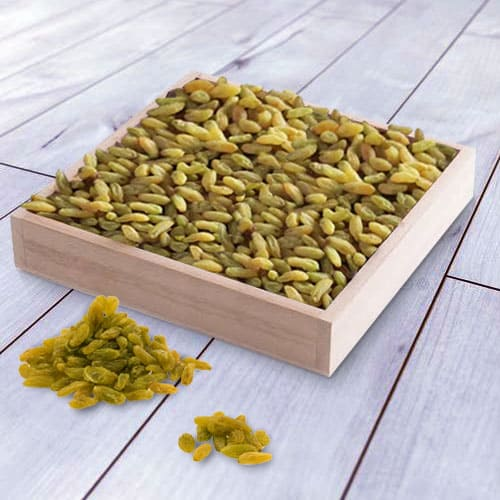 Tempting Raisins in a Wooden Tray