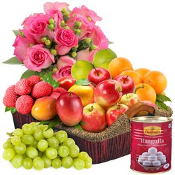 Combo of Fruits Basket with Roses N Haldirams Rasgulla