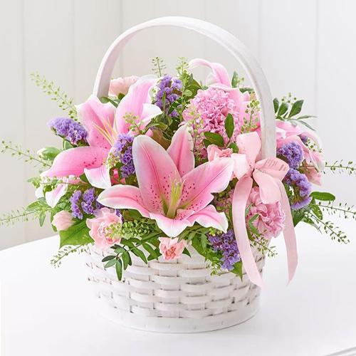 Wonderful Basket Arrangement of Fresh Lilies N Carnations