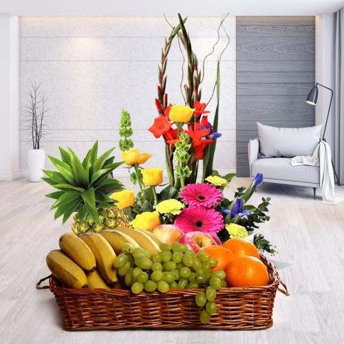 Luscious fresh Fruits and pretty Flowers