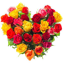 Colorful Heart Shape Arrangement of Roses