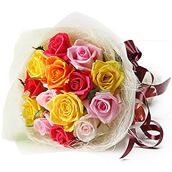 Dazzling Bouquet of 12 Mixed Roses