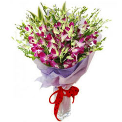 Royalty Selection Purple Orchids Bouquet