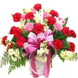 Romantic Pink Roses and Red Carnations in a Basket<br>
