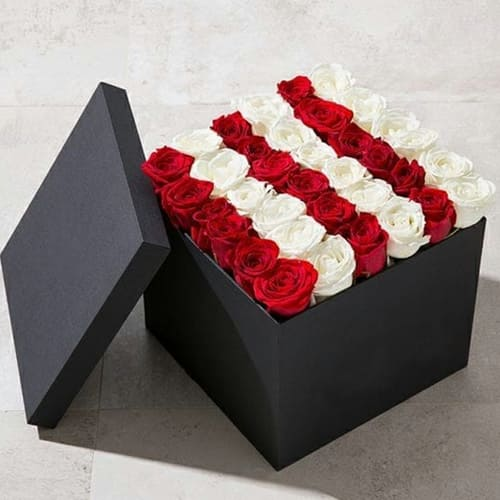 Attractive Square Box of Red n White Roses