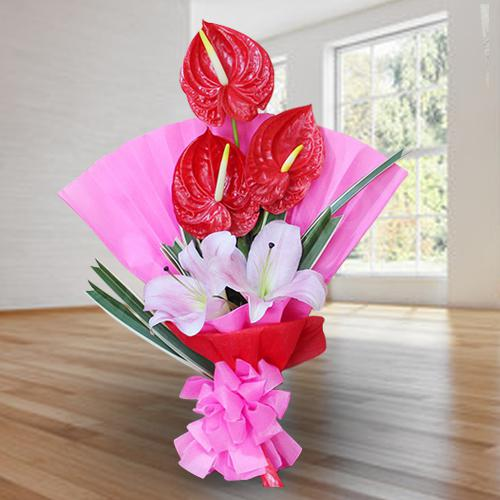Elegant Bouquet of Red Anthodium n Pink Lilies