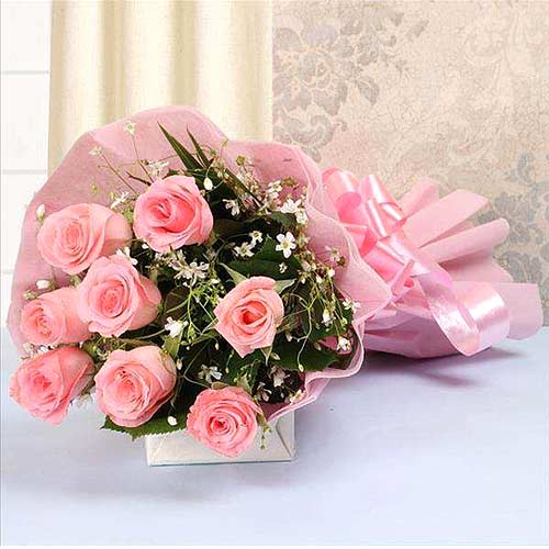 Bouquet of 8 Pink Roses with Tissue Wrapping