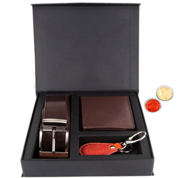 Elegant Gift Set of Wallet, Key Ring and Belt with free Roli Tilak and Chawal