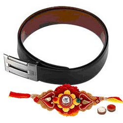 Exclusive Reversible Genuine Leather Belt for Gents with Free Rakhi Roli Tilak and Chawal for Rakhi Celebration