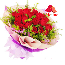 <u><font color=#008000> MidNight Delivery : </FONT></u>:18 Exclusive  Dutch Red    Roses  Bouquet Nicely Wrapped