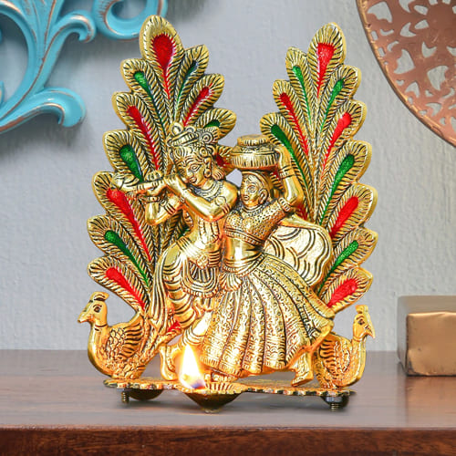 Decorative Peacock Design Radha Krishna Statue with Diya