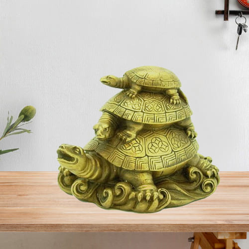 Attractive Fengshui Three Tier Ceramic Tortoise