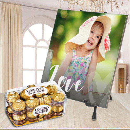 Beautiful Personalized Photo Tile with Ferrero Rocher Chocolate