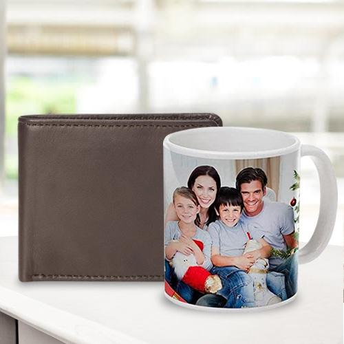 Magnificent Personalized Photo Coffee Mug with Rich Borns Brown Leather Wallet for Men