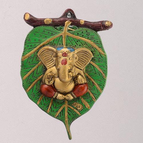 Auspicious Lord Ganesha on Leaf for Wall Decor