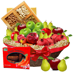 Enticing Fruit N Nut Gift Basket