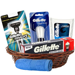 Attractive Gillette Shaving Gift Basket for Him<br>