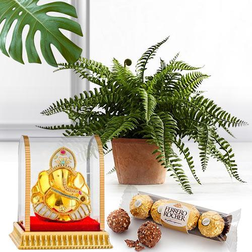 Special Surprise Gift of Live Plant, Ganesh Murti N Chocolate