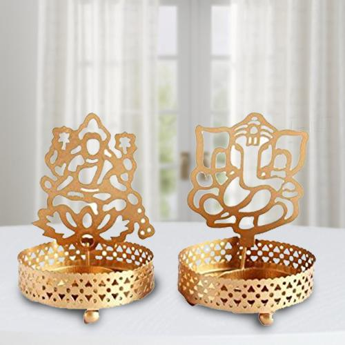 Exclusive Ganpatiji and Laxmiji Tealight Candle Holder