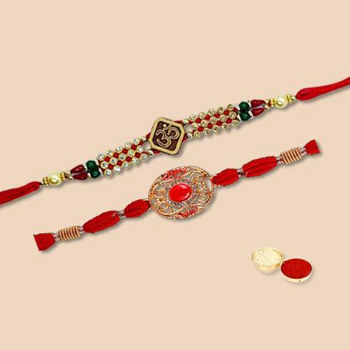 Scintillating Two Pieces Rakhi Set with Free Roli Tilak and Chawal for your Precious Brother on the Occasion of Rakhi