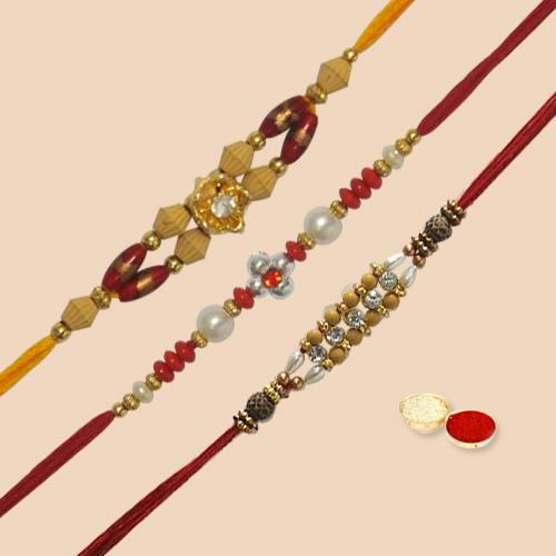 Exclusive Collection of Rakhi Sets (3 pc.) along with free Roli Tilak and Chawal for Rakhi Special