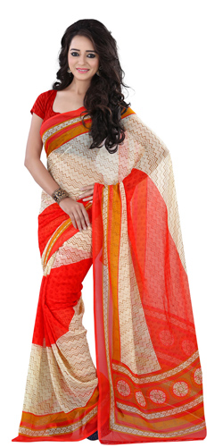 Charming Georgette Printed Saree in Beige and Red Colour