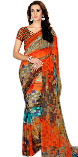 Flattering Printed Multi-Color Marble Chiffon Saree for Fashionable Women