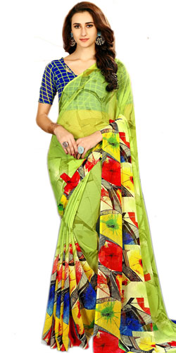 Admirable Green Color Marble Chiffon Saree in Abstract Print<br>