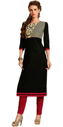 Rocking Desi Style Cotton Fabric Printed Black Suit