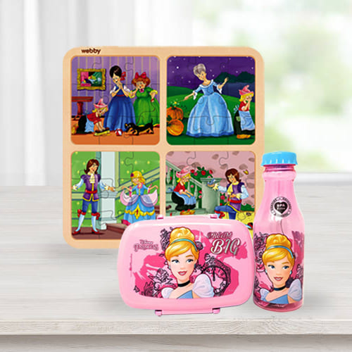 Alluring Disney Cinderella Lunch Box n Water Bottle with Wooden Puzzle Combo