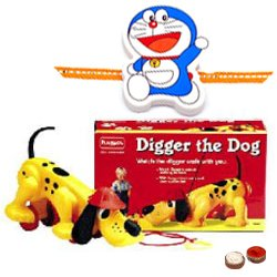 Attractive Rakhi Special Gift of Diggler Dog Toy Gift Set from Funskool with free Rakhi, Roli Tilak and Chawal for Kids