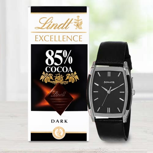 Exclusive Sonata Analog Mens Watch N Lindt Chocolate