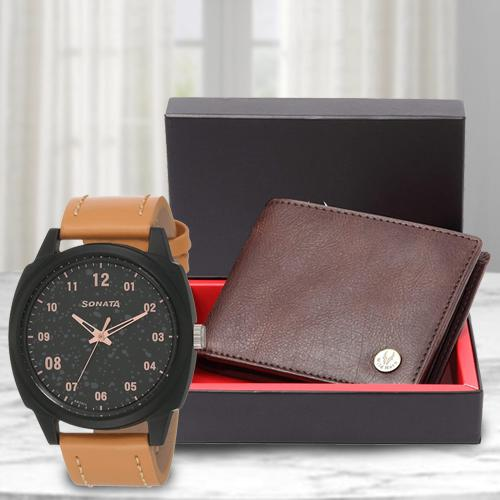 Exclusive Sonata Volt+ Analog Watch N Leather Wallet