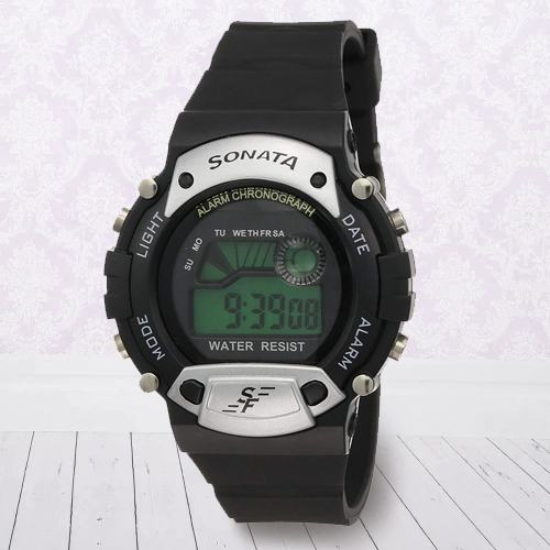 Exclusive Sonata Super Fibre Digital Mens Watch