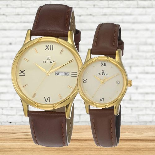 Exclusive Titan Analog Pair Watch